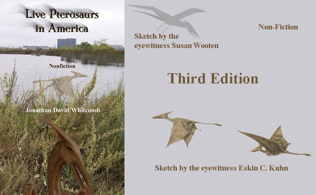 "book cover - ""Live Pterosaurs in America"" - third edition - with sketches of creatures"