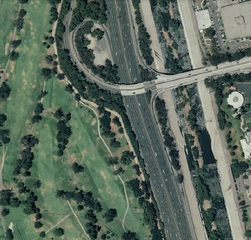 "Approximate location of sighting of three ""dragons"" - satellite image of a portion of Griffith Park (golf course) and Los Angeles River"