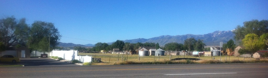 small farm and surrounding neighborhood in Grantsville, Utah