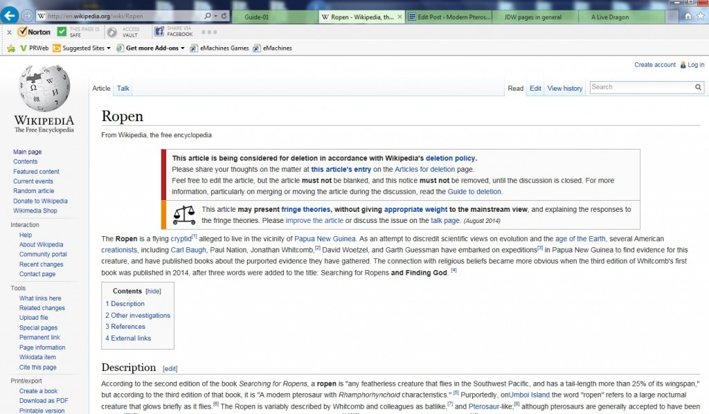 "Mid-August entry, top-of-page, of Wikipedia (English) article ""Ropen"" - it was deleted by August 28, 2014"